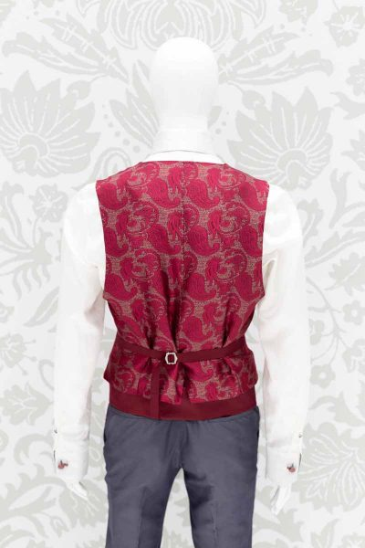 Waistcoat vest glamour men's suit lead and red 100% made in Italy by Cleofe Finati