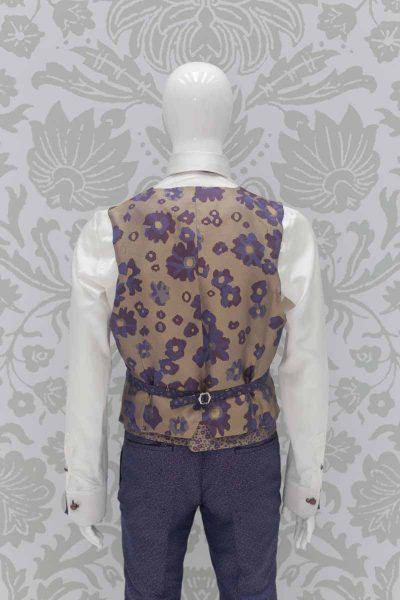 Waistcoat vest men's suit glamour navy blue 100% made in Italy by Cleofe Finati