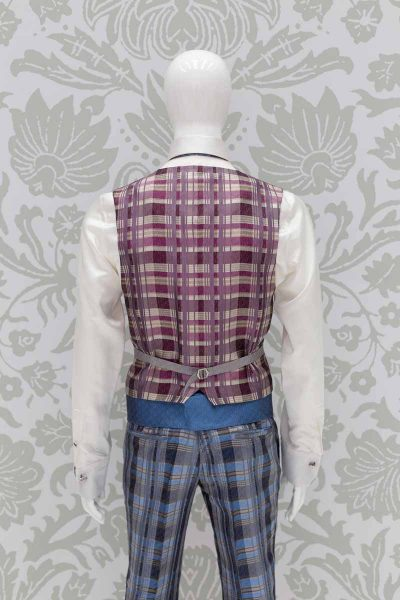 Waistcoat vest glamour men's suit light blue 100% made in Italy by Cleofe Finati