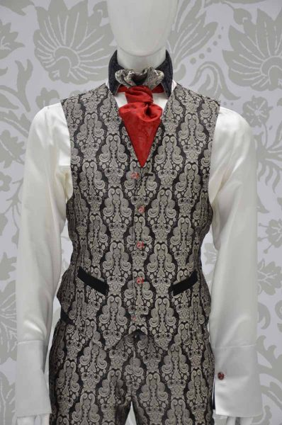 Waistcoat vest glamour men's suit black ruby red ecru 100% made in Italy by Cleofe Finati