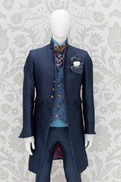 Waistcoat vest glamour men's suit light blue navy blue 100% made in Italy by Cleofe Finati