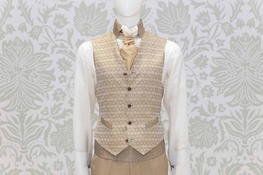 Waistcoat vest glamour men's suit gold 100% made in Italy by Cleofe Finati