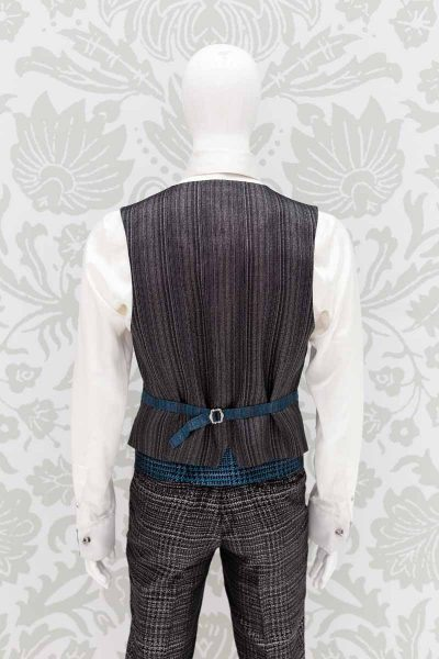 Waistcoat vest glamour men's suit blue black 100% made in Italy by Cleofe Finati