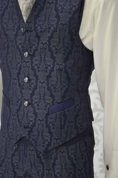 Waistcoat vest glamour men's suit midnight blue ecru 100% made in Italy by Cleofe Finati