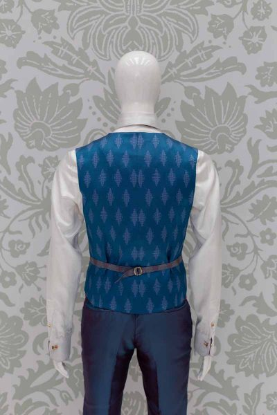 Waistcoat vest men's glamour suit blue burgundy 100% made in Italy by Cleofe Finati