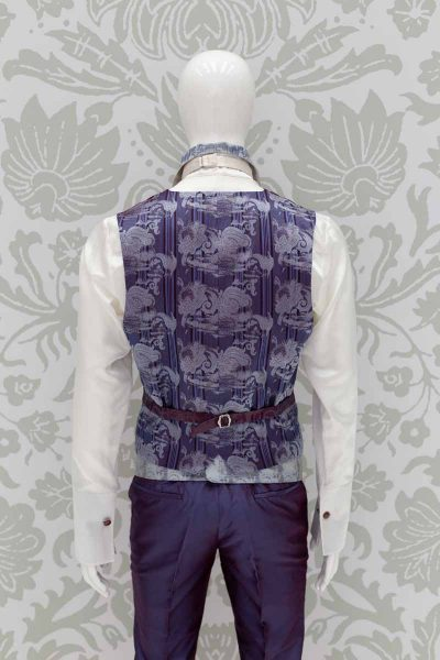 Waistcoat vest glamour men's suit blue purple 100% made in Italy by Cleofe Finati