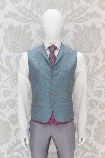 Waistcoat vest grey glamorous men's suit 100% made in Italy by Cleofe Finati
