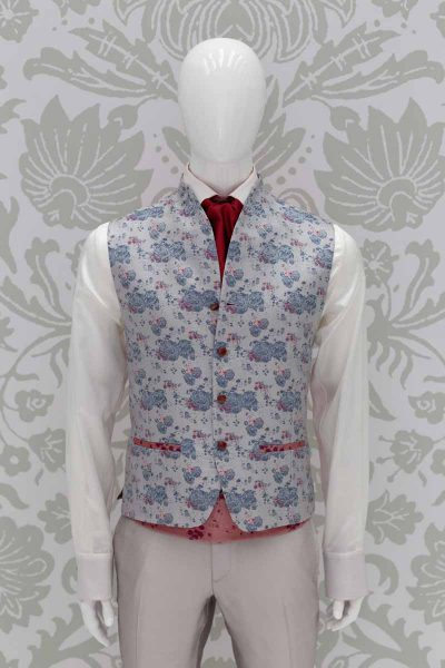 Waistcoat vest glamour men's suit ice grey 100% made in Italy by Cleofe Finati