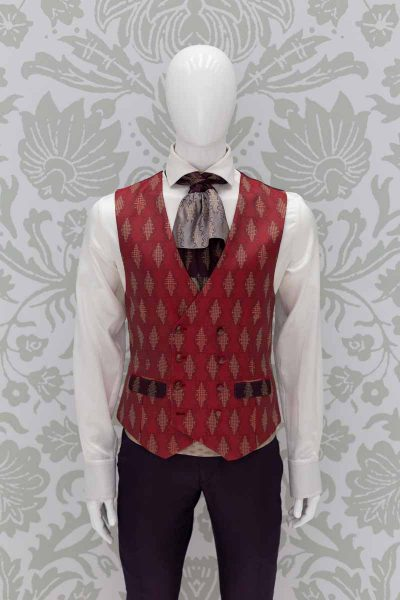 Waistcoat vest glamour men's suit blue red 100% made in Italy by Cleofe Finati