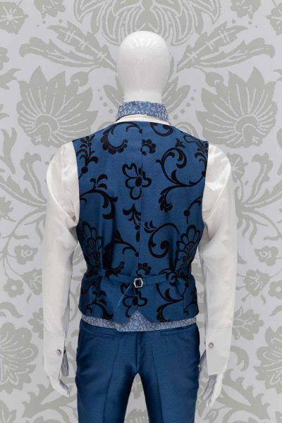 Waistcoat vest glamour men's suit azure blue 100% made in Italy by Cleofe Finati