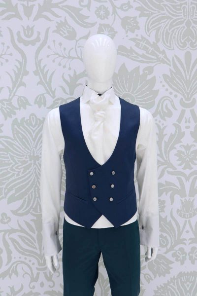 Waistcoat vest light blue golden fashion wedding suit sky blue 100% made in Italy by Cleofe Finati