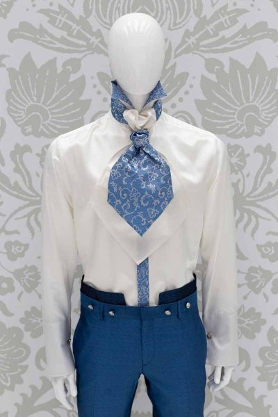 Light blue white dandy Ascot glamour men's suit azure blue 100% made in Italy by Cleofe Finati