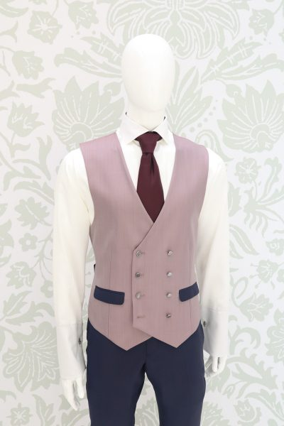Waistcoat vest dusty blue white classic lightning blue wedding suit 100% made in Italy by Cleofe Finati