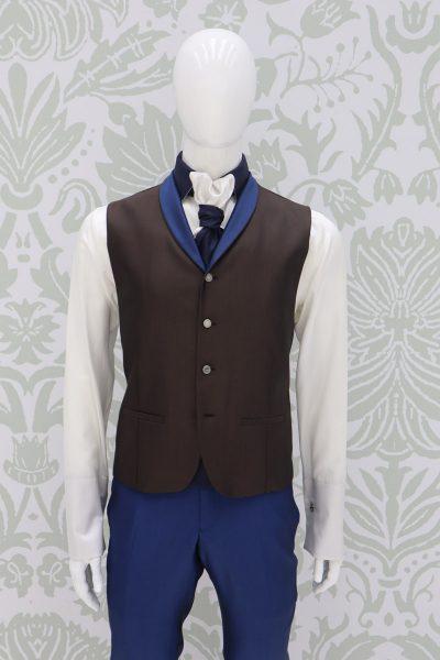 Waistcoat vest light blue ochre classic wedding suit dusty serenity blue 100% made in Italy by Cleofe Finati