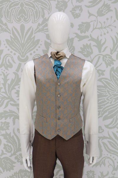 Waistcoat vest sand light blue fashion havana wedding suit 100% made in Italy by Cleofe Finati