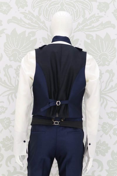 Panciotto gilet gilè abito da uomo glamour blu e nero made in Italy 100% by Cleofe Finati