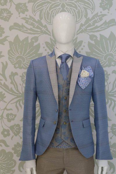Panciotto gilet gilè abito da uomo glamour azzurro e sabbia made in Italy 100%  by Cleofe Finati