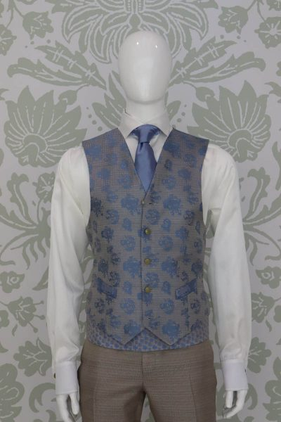 Waistcoat vest glamour men's suit white light blue 100% made in Italy by Cleofe Finati