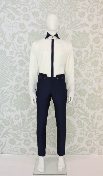 Glamorous blue luxury men's suit trousers 100% made in Italy by Cleofe Finati