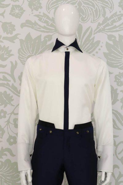 Pantalone abito da uomo glamour blu e nero made in Italy 100% by Cleofe Finati