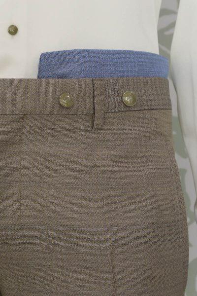 Pantalone abito da uomo glamour sabbia e azzurro made in Italy 100% by Cleofe Finati