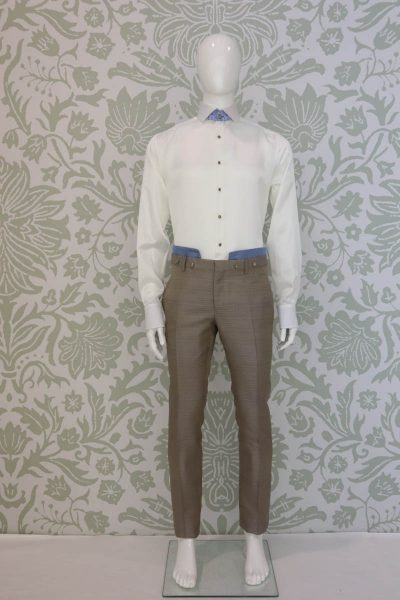 Light blue white glamour men's suit trousers 100% made in Italy by Cleofe Finati