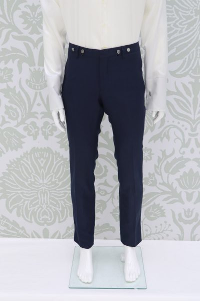 Fashion lightning blue wedding suit trousers 100% made in Italy                                       by Cleofe Finati
