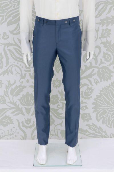 Pantalone abito da sposo fashion blu azzurro made in Italy 100% by Cleofe Finati
