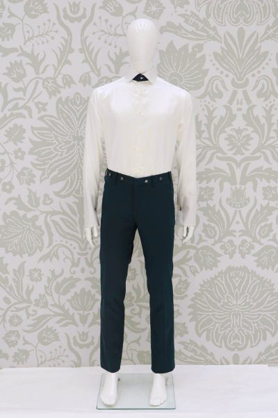 Sky blue fashion wedding suit trousers 100% made in Italy by Cleofe Finati