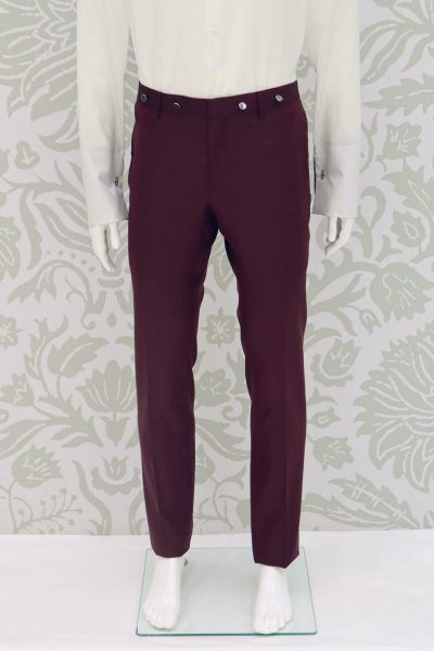 Fashion wedding suit burgundy trousers 100% made in Italy                        by Cleofe Finati