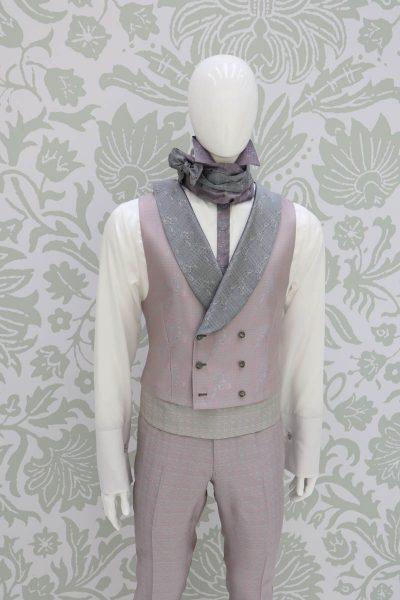 Panciotto gilet gilè abito da uomo glamour rosa salvia made in Italy 100% by Cleofe Finati