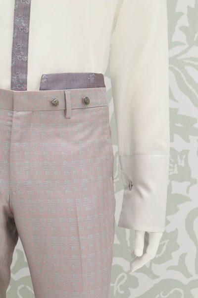Pantalone abito da uomo glamour rosa salvia made in Italy 100% by Cleofe Finati