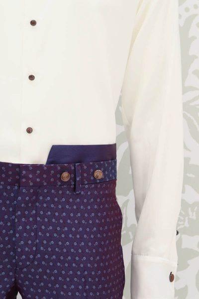 Pantalone abito da uomo glamour blu bordeaux made in Italy 100% by Cleofe Finati