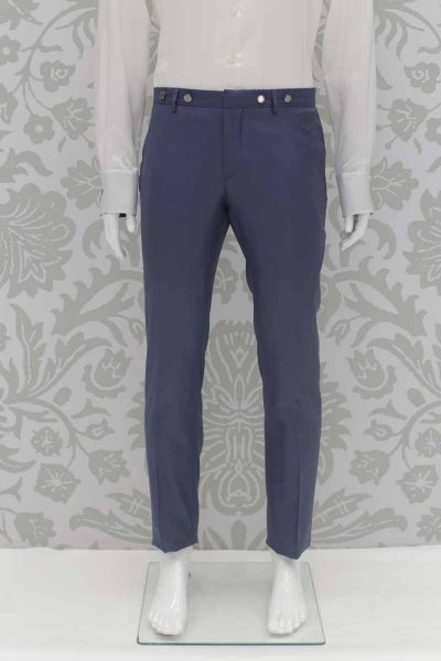 Wedding suit fashion trousers serenity blue 100% made in Italy by Cleofe Finati
