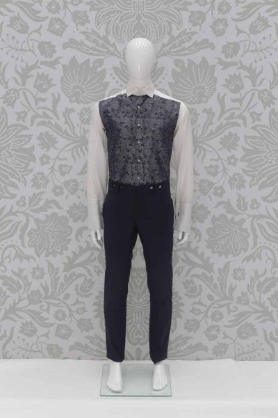 Navy blue fashion wedding suit trousers 100% made in Italy by Cleofe Finati