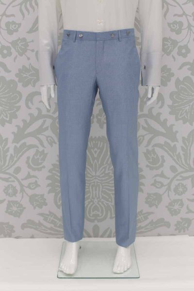 Dusty blue classic wedding suit trousers 100% made in Italy by Cleofe Finati