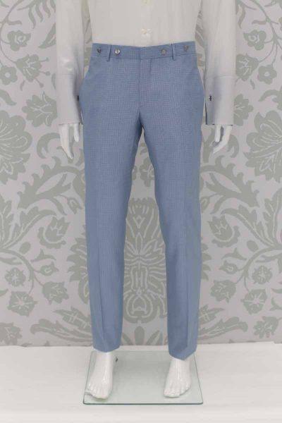Pantalone abito da sposo classico azzurro polveroso made in Italy 100% by Cleofe Finati
