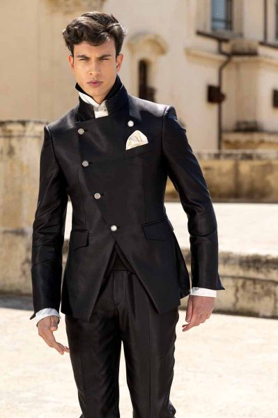 Black fashion wedding suit trousers 100% made in Italy by Cleofe Finati