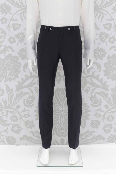 Pantalone abito da sposo fashion blu notte made in Italy 100% by Cleofe Finati