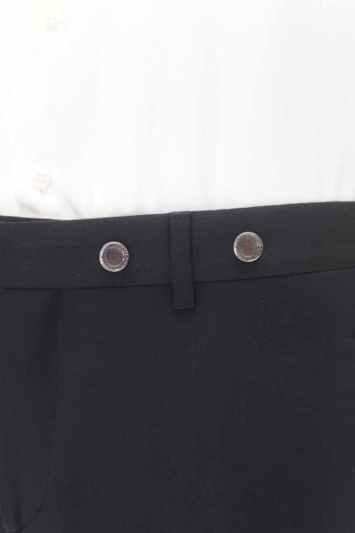 Classic wedding suit trousers tail coat line in black brocade 100% made in Italy by Cleofe Finati
