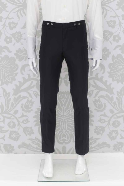 Pantalone abito da sposo fashion nero made in Italy 100% by Cleofe Finati