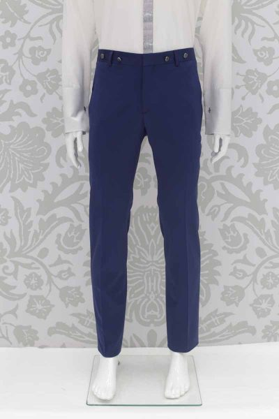Classic lightning blue wedding suit trousers 100% made in Italy by Cleofe Finati