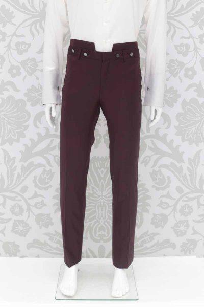 Pantalone abito da sposo fashion bordeaux made in Italy 100% by Cleofe Finati