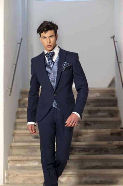 Classic midnight blue wedding suit trousers 100% made in Italy by Cleofe Finati