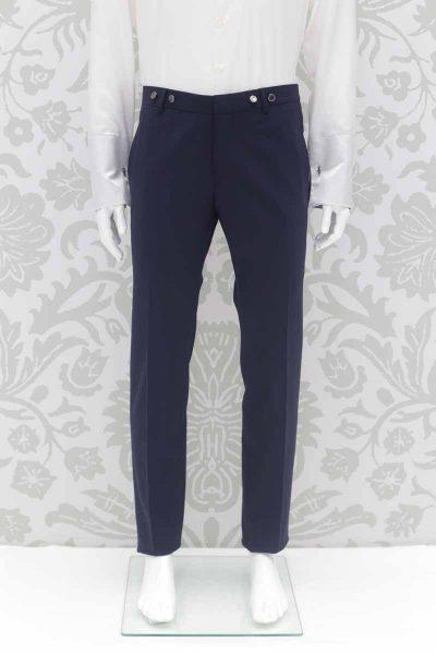 Pantalone abito da sposo classico blu notte made in Italy 100% by Cleofe Finati