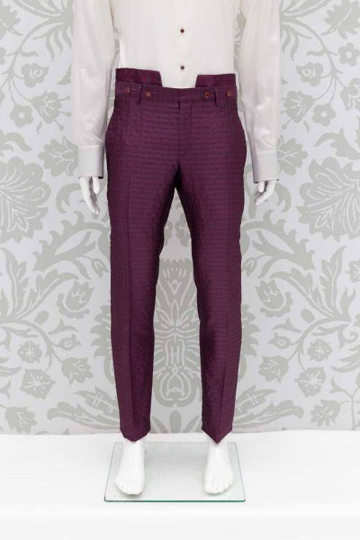 Men's suit glamour luxury red burgundy maroon 100% made in Italy by Cleofe Finati