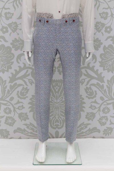 Pantalone abito da uomo glamour bianco azzurro made in Italy 100% by Cleofe Finati