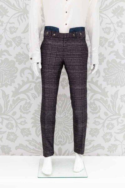Pantalone abito da uomo glamour lusso blu nero made in Italy 100% by Cleofe Finati