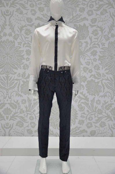 Pantalone abito da uomo glamour blu notte ecru made in Italy 100% by Cleofe Finati
