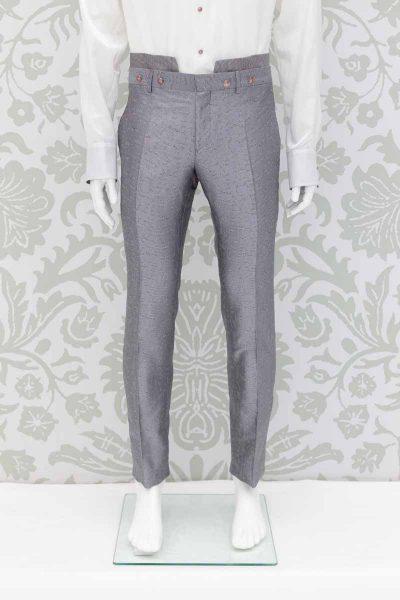 Pantalone abito da uomo glamour lusso grigio made in Italy 100% by Cleofe Finati
